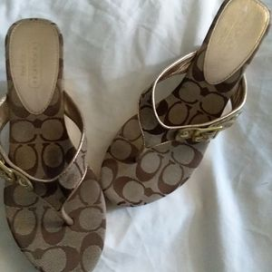 Coach Sandals gold & brown trim